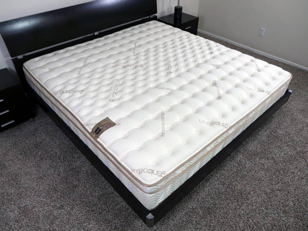 Angled view of the Saatva mattress