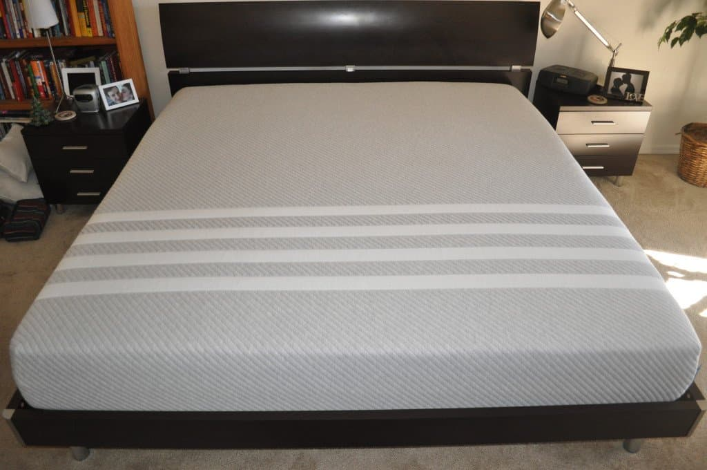 Fancy King sized Bellmar platform bed with our Leesa mattress on top