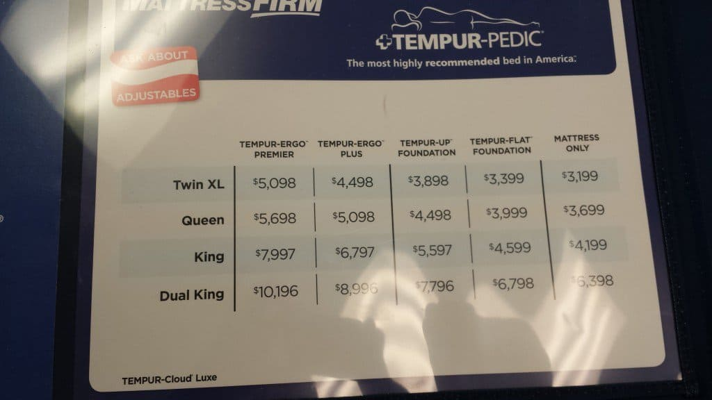 Typical prices for a high-end adjustable bed in a mattress specialty store