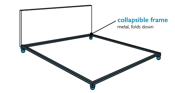 Collapsible metal - bed frame