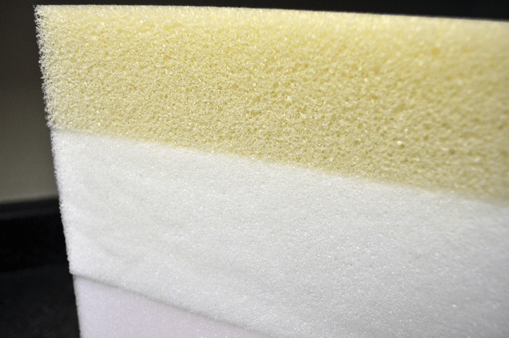 Close up of the foam layers. Note the open cell structure of the top layer of memory foam.