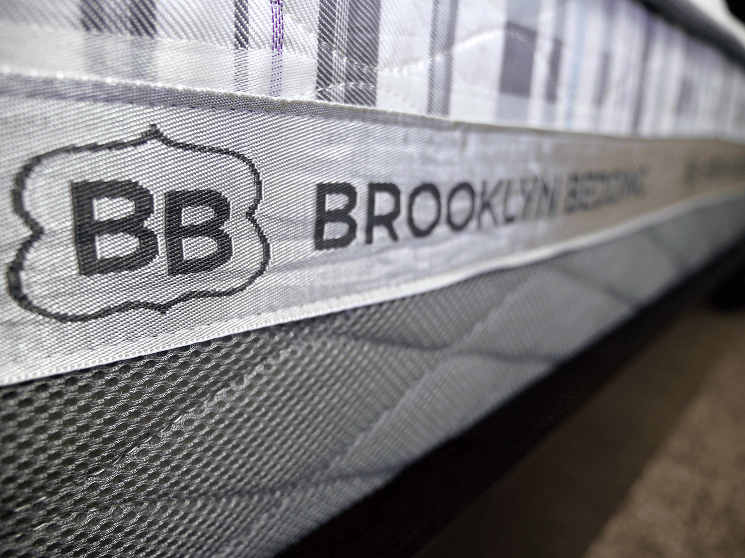 Close up shot of the Brooklyn Bedding logo