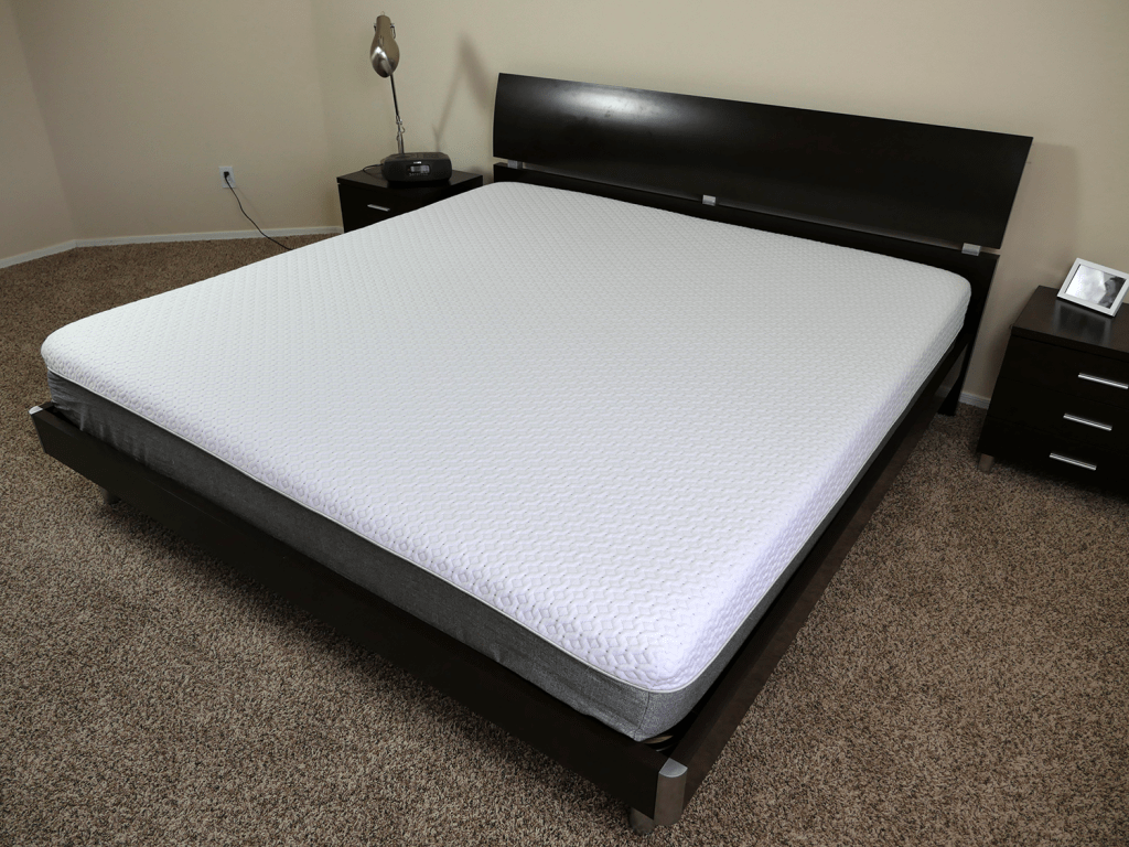 Angled view of the Endy mattress