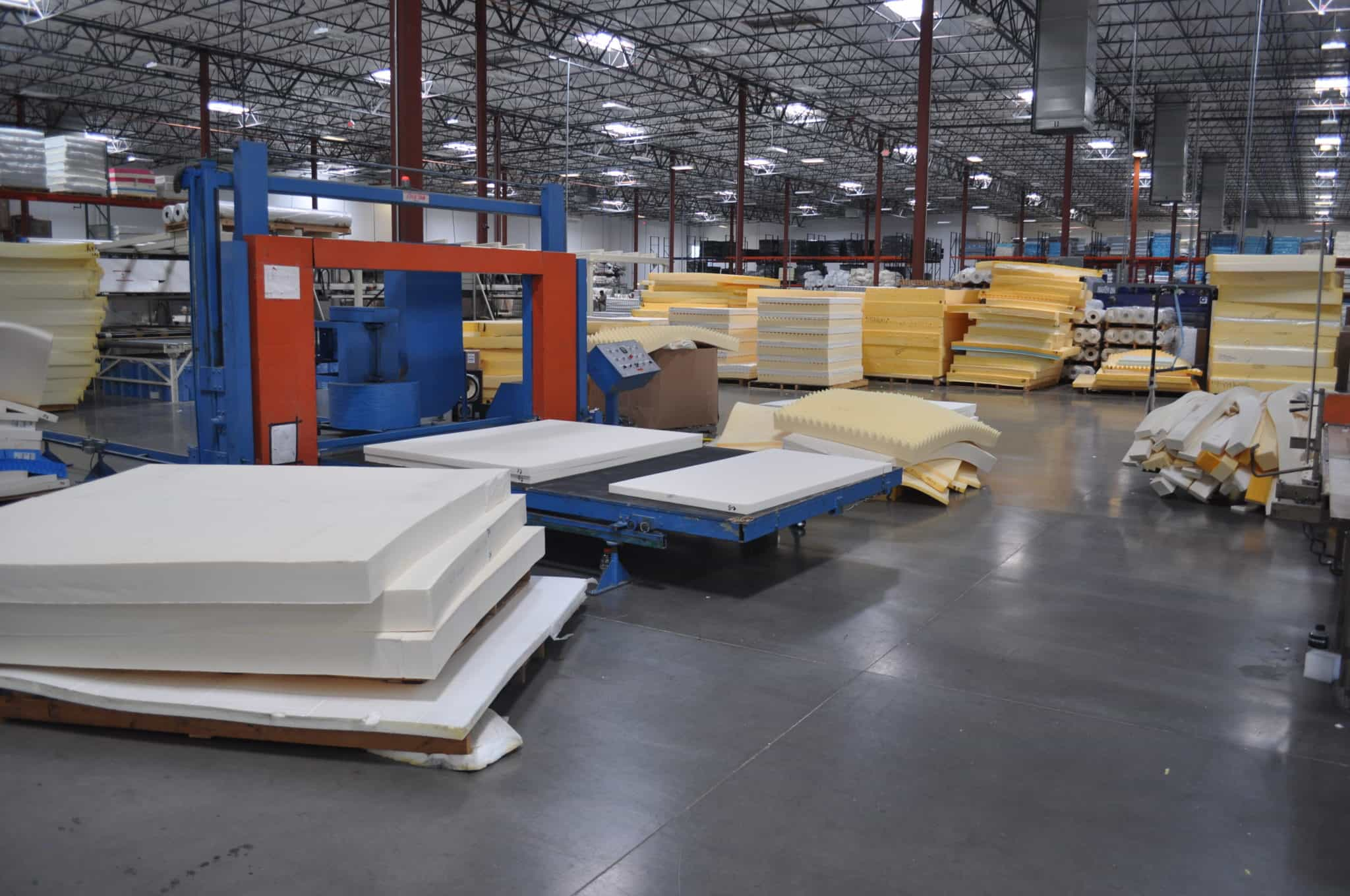 View of the foam quadrant at the Brooklyn Bedding mattress factory