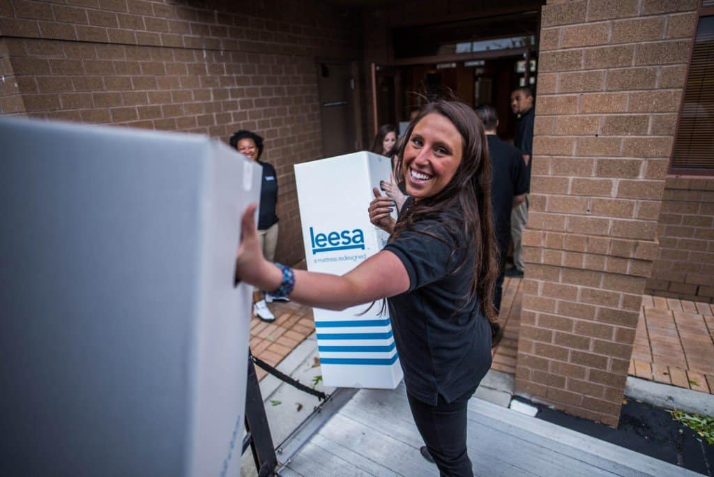 Sophie at the Leesa donation to the Norfolk Union Mission in Virginia