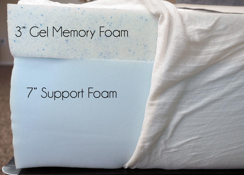 """eLuxurySupply mattress layers (top to bottom) - 3"""" gel memory foam, 7"""" support foam"""