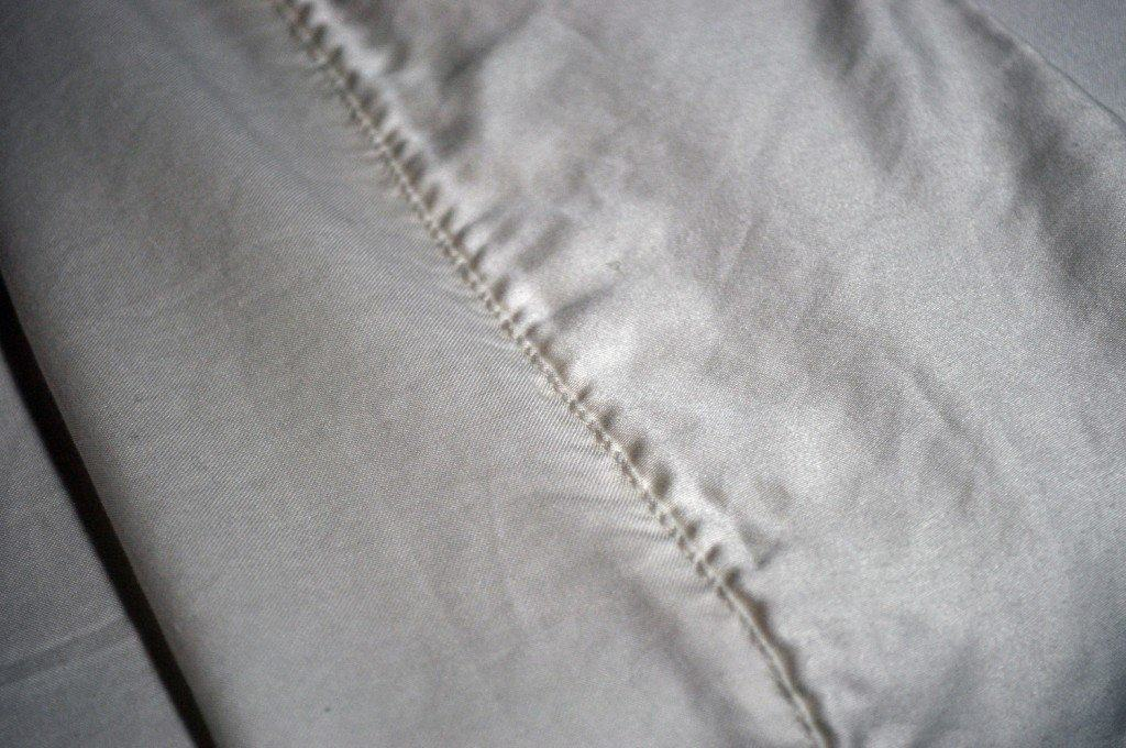 Close up shot of a sateen weave (Malouf's Tencel sheets)