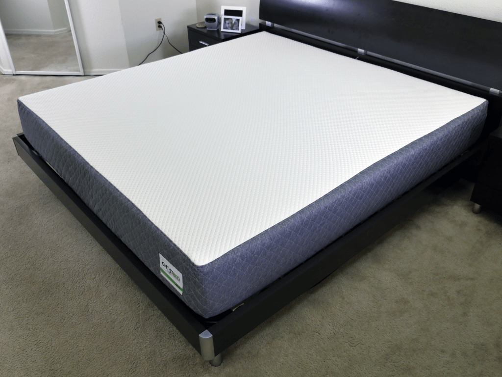 Ghostbed mattress on bed frame