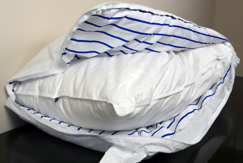 Casper pillow layers - outer pillow unzipped to show inner pillow