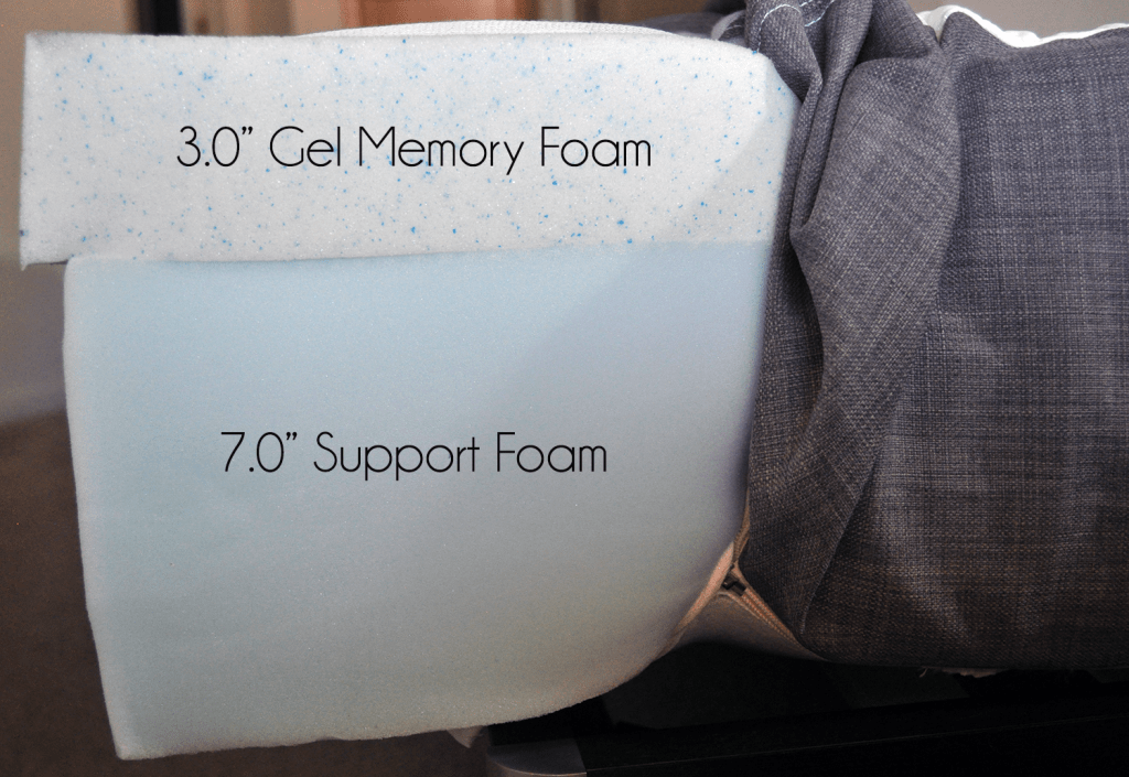 "eluxurySupply mattress layers (top to bottom) - 3.0"" gel memory foam, 7.0"" support foam"