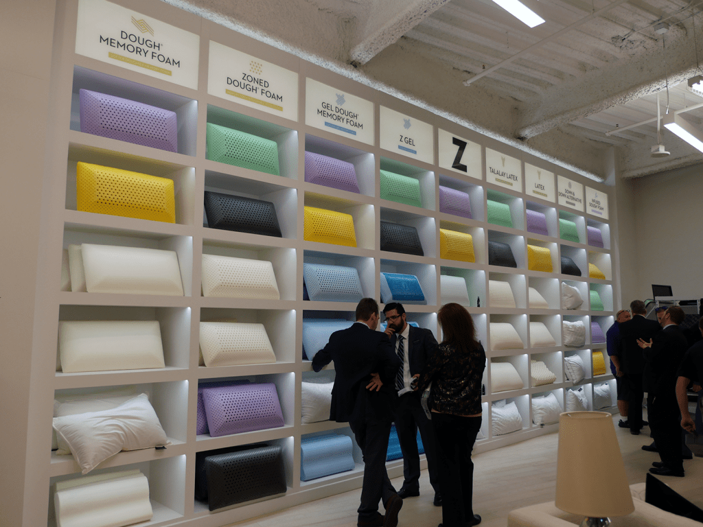 Malouf showroom pillow wall