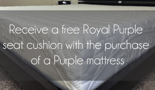 Receive a new Royal Purple seat cushion for free!