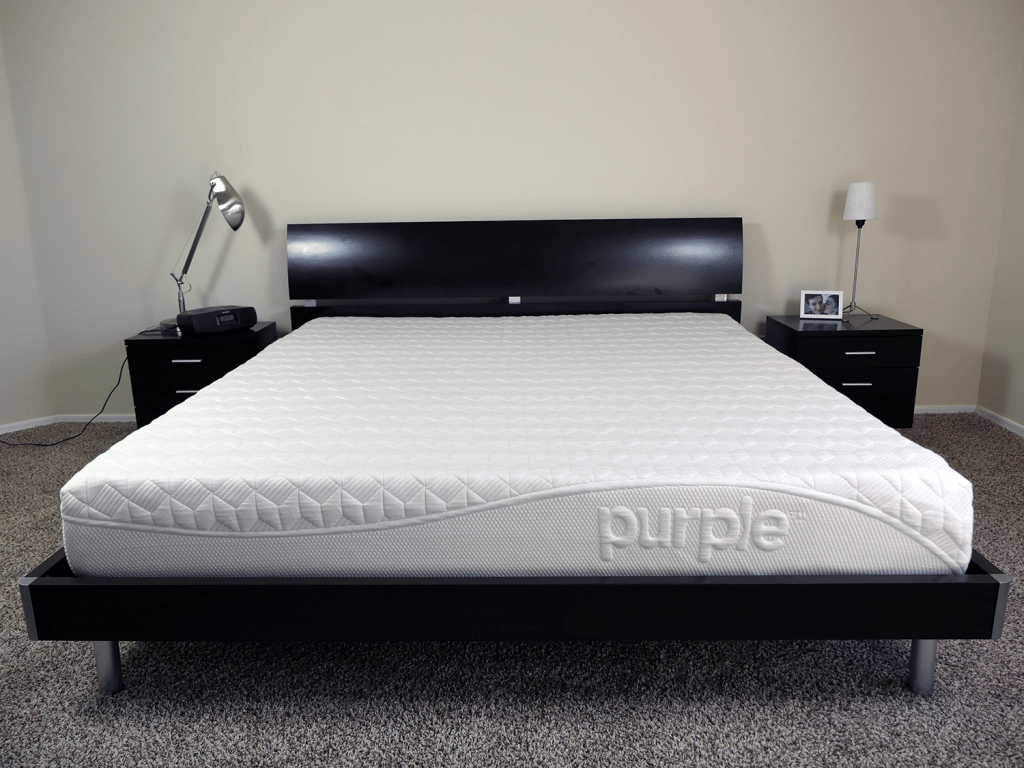 Purple mattress on a King size platform bed