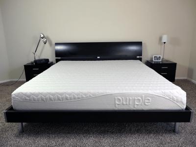 Purple mattress on a King size platform Bed