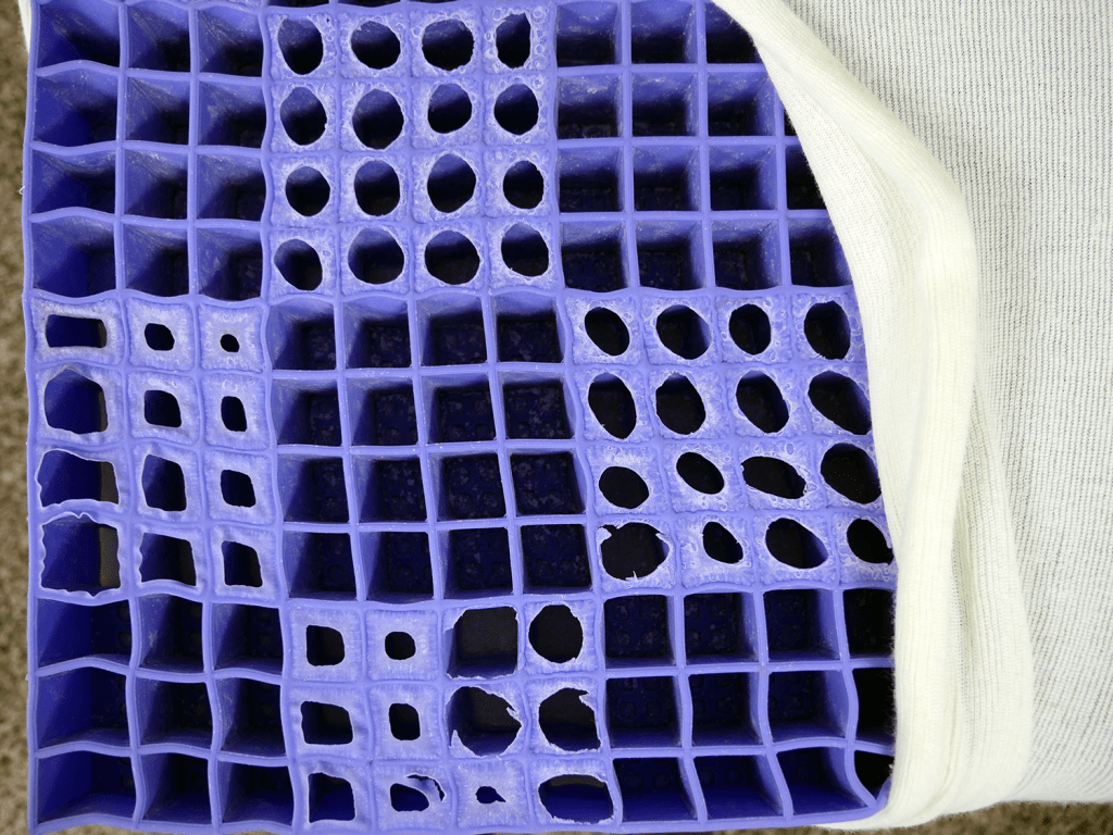 Close up shot of the Purple's hyper-elastic polymer material