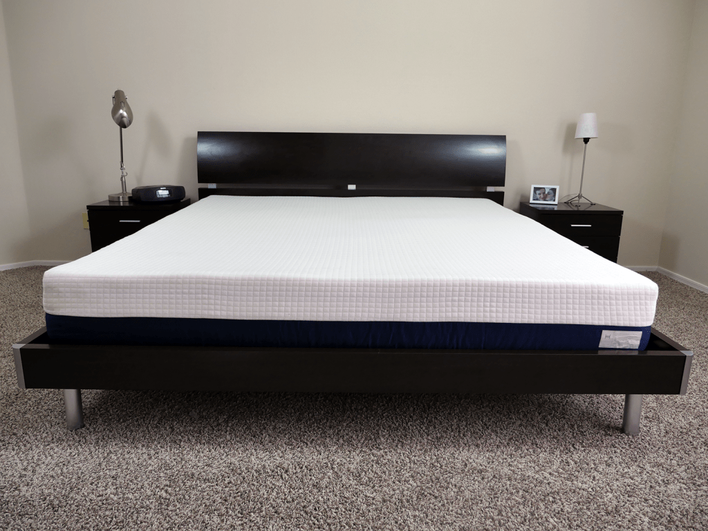 Helix mattress, King size, on platform bed