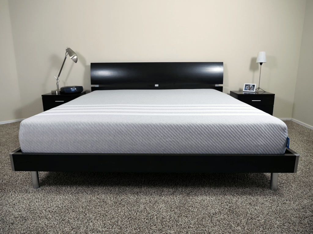 leesa mattress king size on platform bed