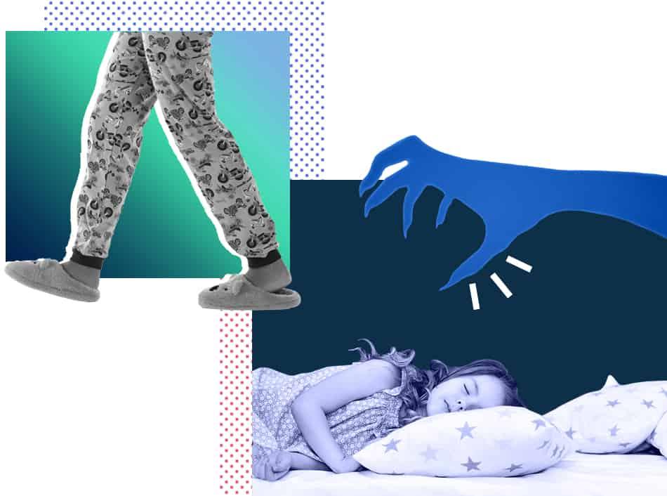 Sleepwalking and night terrors graphic, children's sleep disorder revision