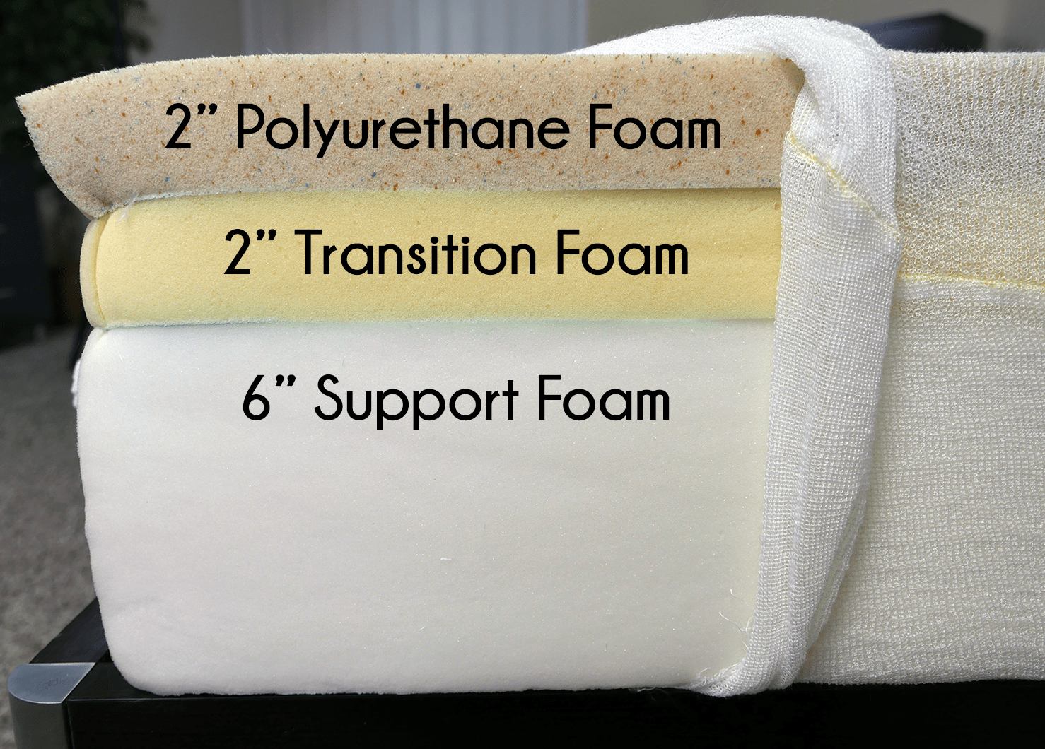 "Hyphen layers (top to bottom) - 2"" polyurethane foam, 2"" transition foam, 6"" high-density support foam"