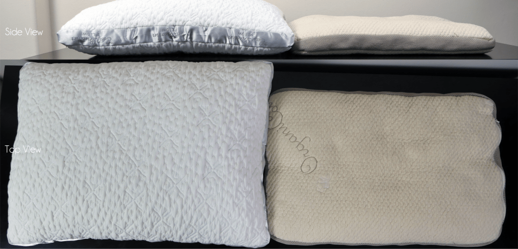 Nest Easy Breather memory foam 100% full (left) vs. Nest Easy Breather latex 20% full (right) - This fully adjustable pillow allows for various heights and feels