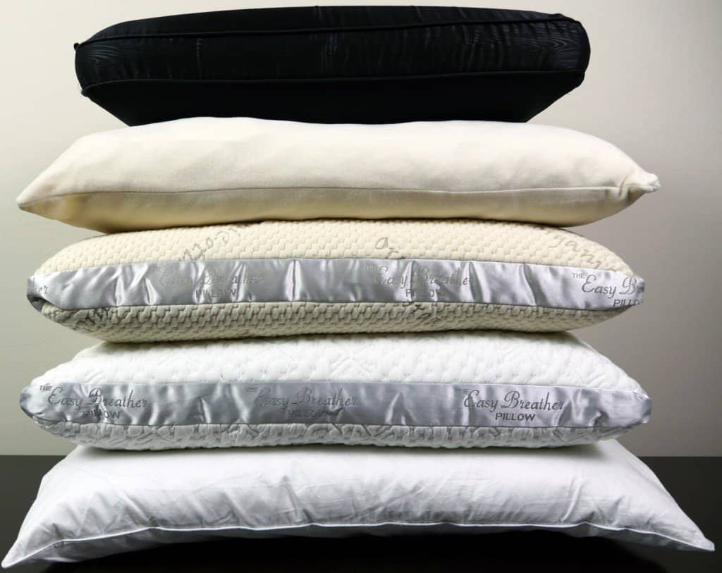 Pillow types (top to bottom) - traditional memory foam (Night), down alternative (Nature's Sleep), natural latex (Nest Easy Breather), noodled memory foam (Nest Easy Breather), memory foam + gusset (I Love My Pillow)