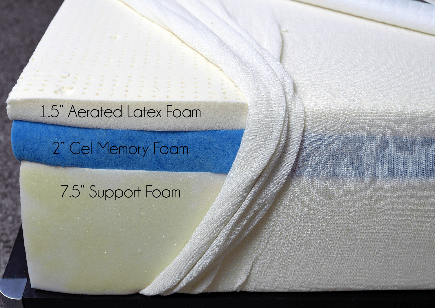 "GhostBed mattress layers (top to bottom) - 1.5"" aerated latex foam, 2"" gel memory foam, 7.5"" support foam"