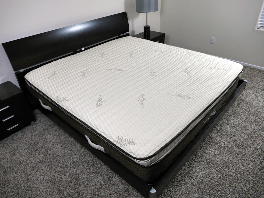 Angled view of the Nest latex hybrid mattress