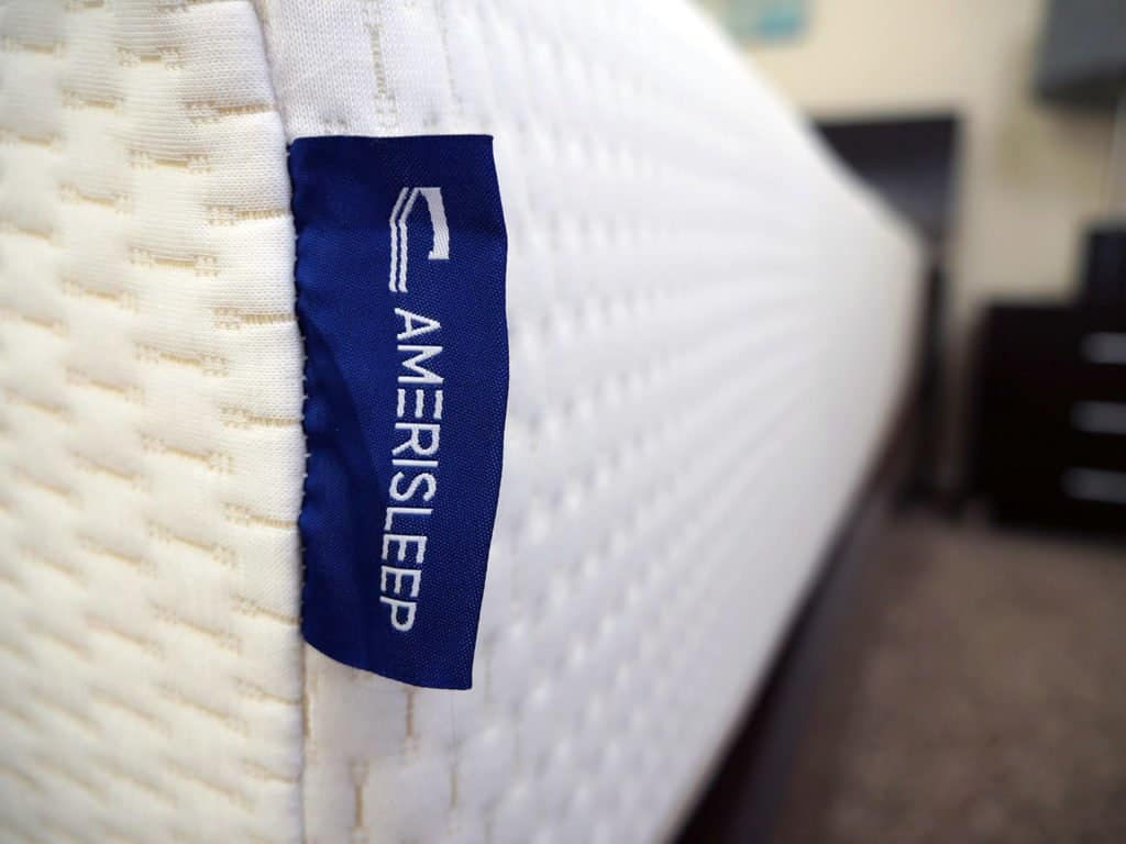 Ultra close up shot of the Amerisleep logo