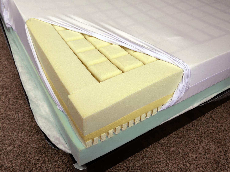 "Soft Luxi mattress layers (top to bottom) - 3.5"" memory foam heads, 1"" memory foam, 1"" Dunlop latex, 3.5"" polyurethane foam"