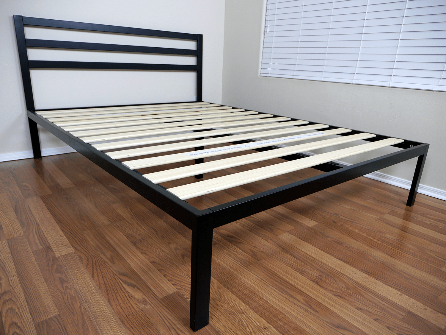 Angled view of the Zinus platform bed