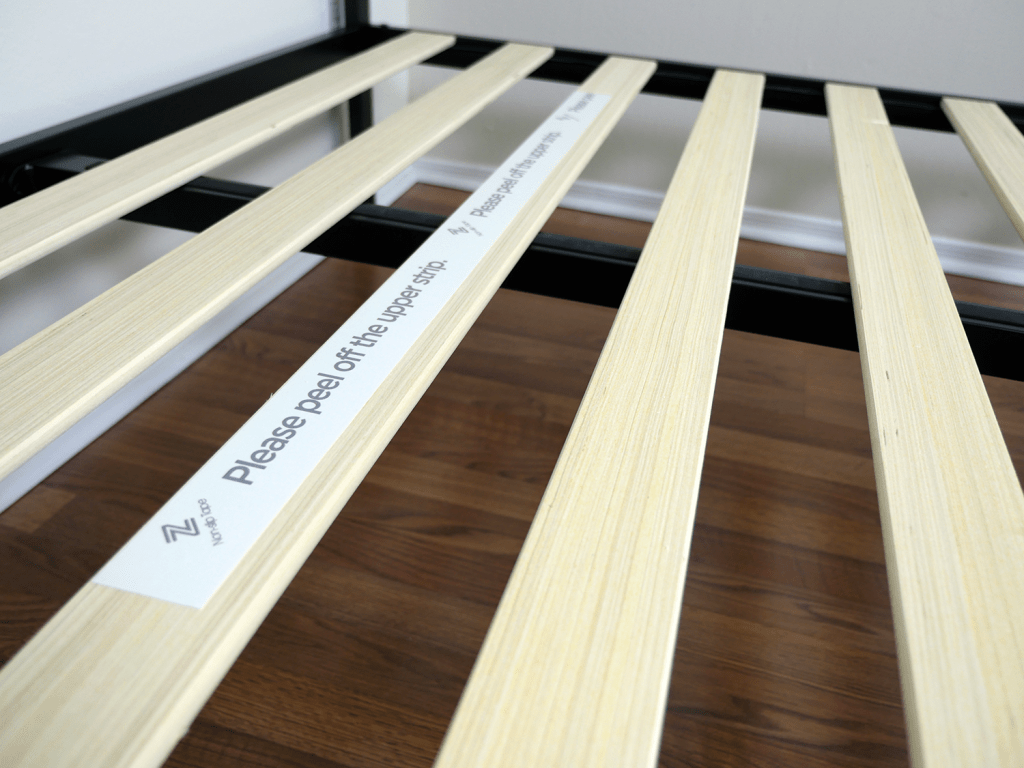 Close up of Zinus platform bed slats