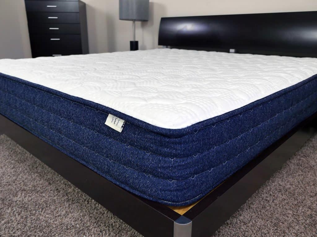 Close up shot of the Brentwood Home Avalon mattress cover