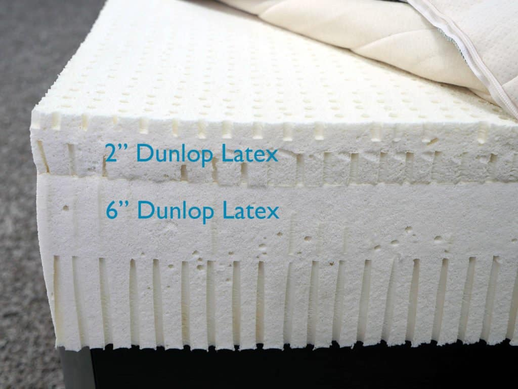 "SleepOnLatex mattress layers (top to bottom) - 2"" Dunlop latex, 6"" Dunlop latex"