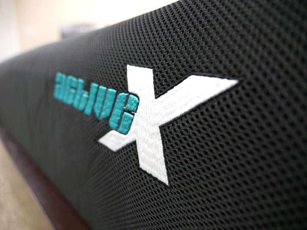 Ultra close up shot of the ActiveX mattress logo