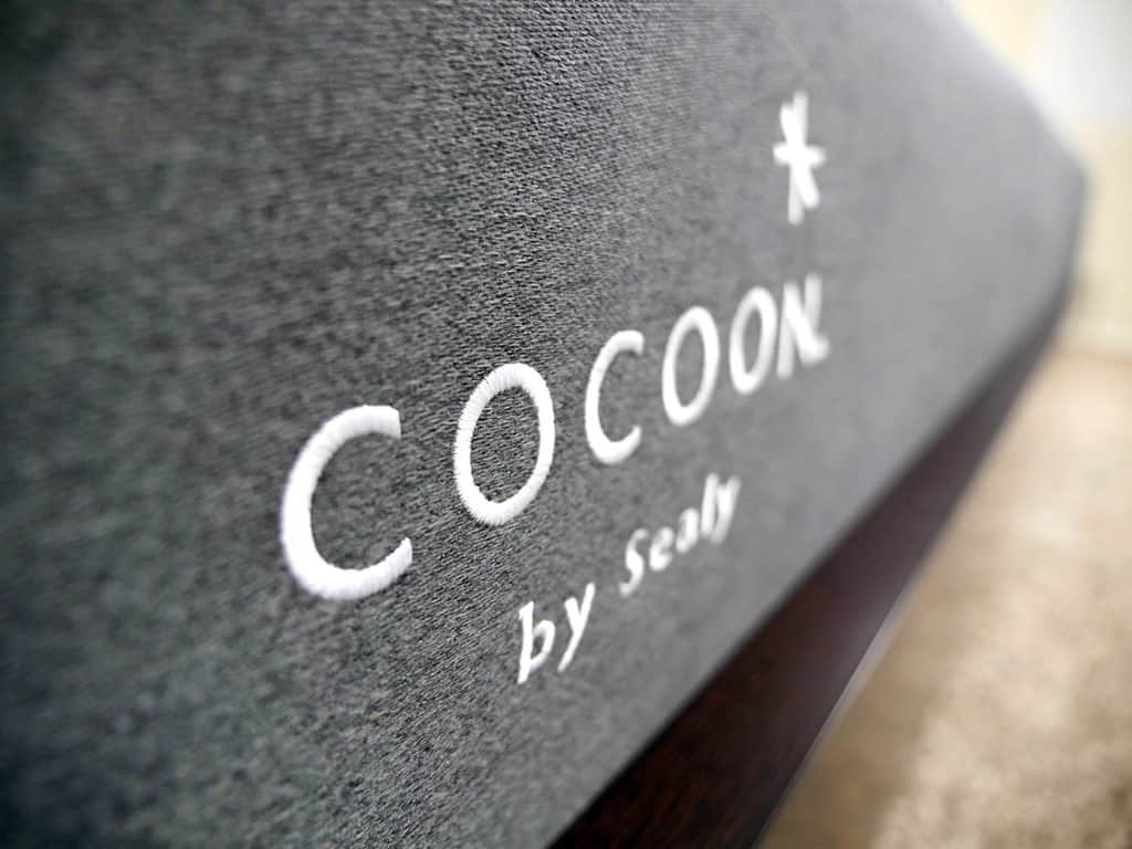 Close up of the Cocoon logo on the foot of the mattress