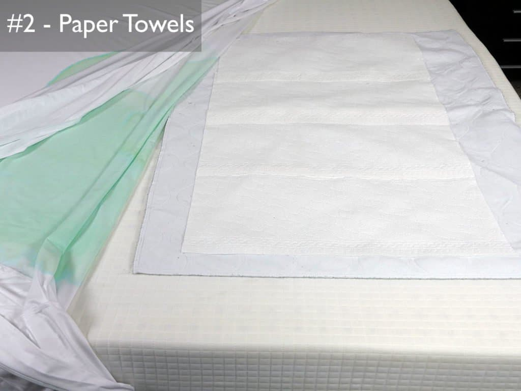 Test #2 - Sleep Tite protector is removed and paper towels are examined for any liquid penetration