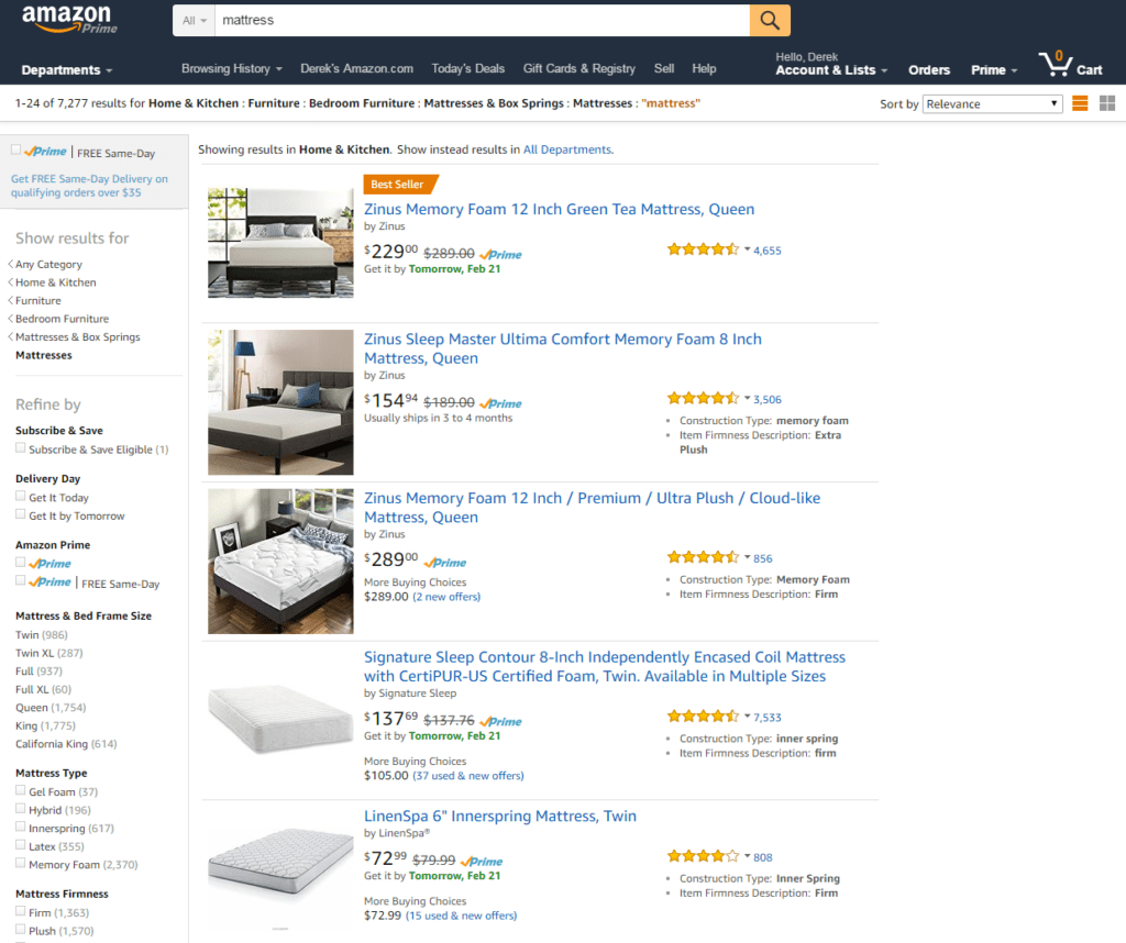 Mattress selection on Amazon.com