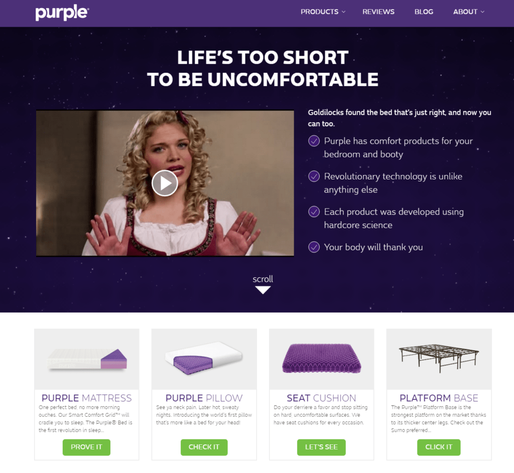 OnPurple.com website - selling Purple mattress, pillow, sheets, protectors, frames, and foundation