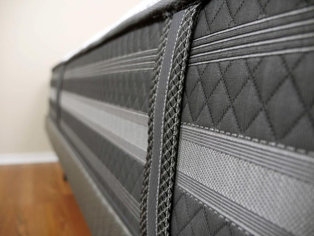 ultra close up shot of the beautyrest black desiree mattress handles beautyrest black77 beautyrest