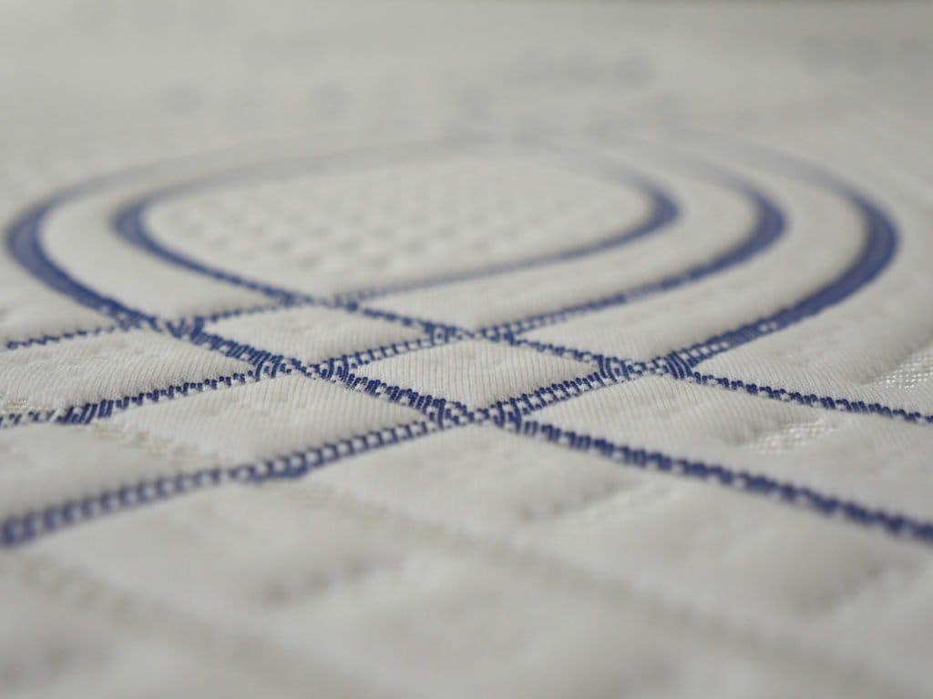 Ultra close up shot of the eLuxurySupply hybrid mattress cover