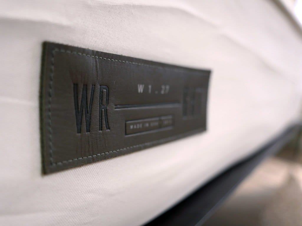Ultra close up shot of the Wright mattress logo