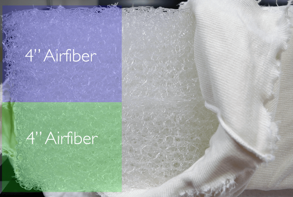 "Airweave mattress layers (top to bottom) - 2 separate layers, each containing 4"" of interwoven airfibers"