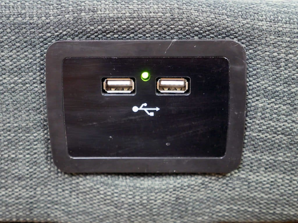 Ultra close up shot of the USB ports available on the Classic Brands adjustable bed