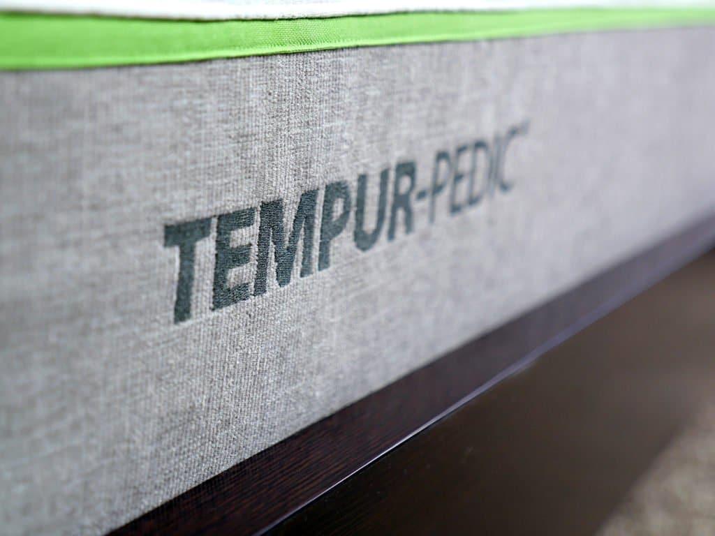 Ultra close up shot of the Tempurpedic logo
