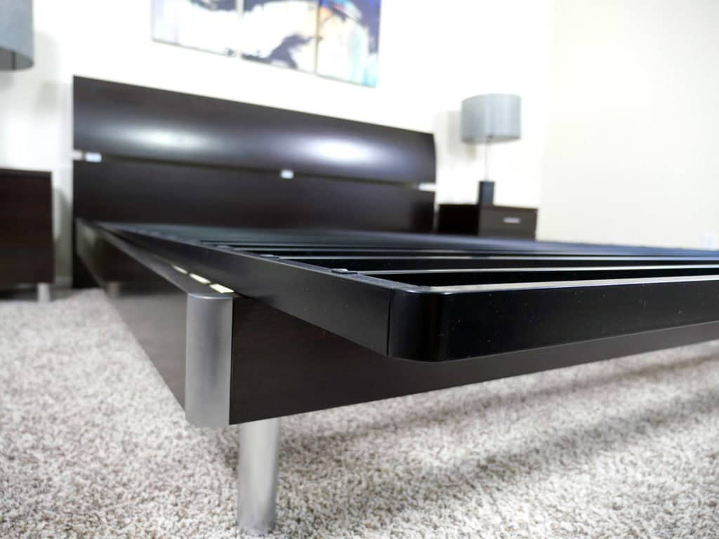 Angled view of the Zinus Bunkie Board showing the distinction between the platform bed and the bunkie board