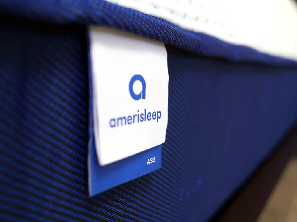 Ultra close up shot of the Amerisleep AS3 mattress logo