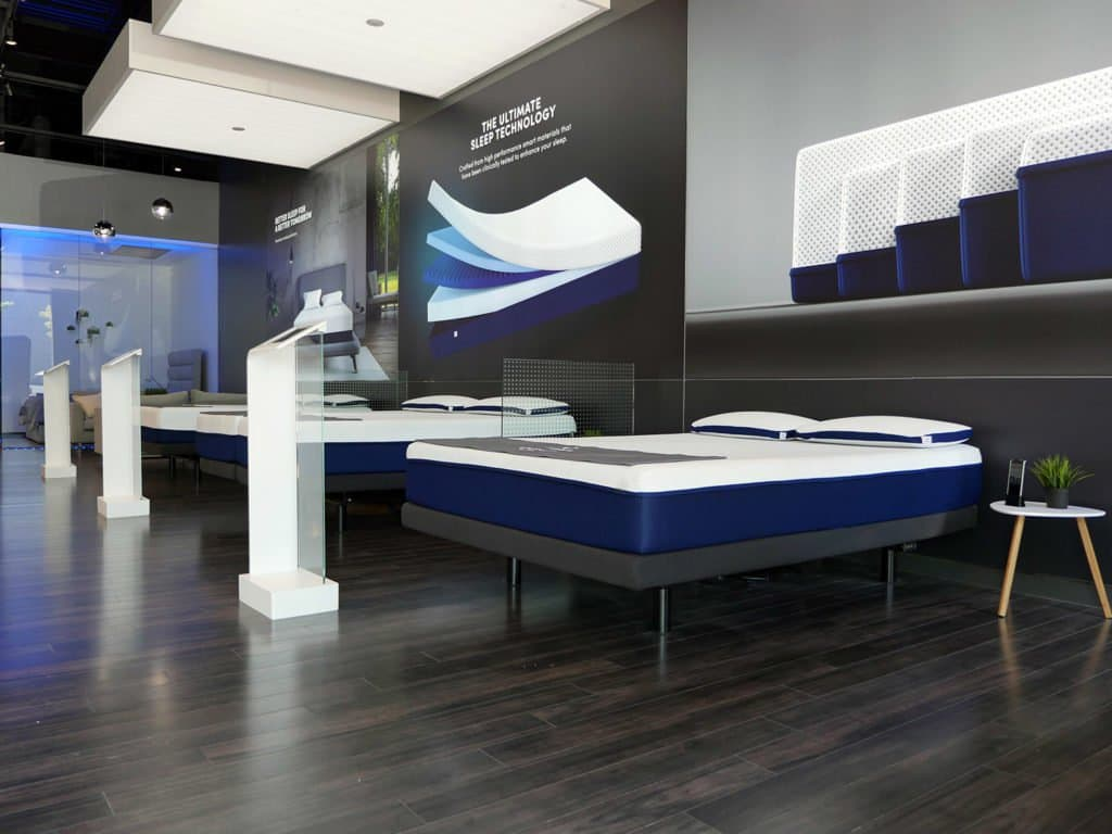 Amerisleep mattresses and their corresponding tablet featured in their showroom