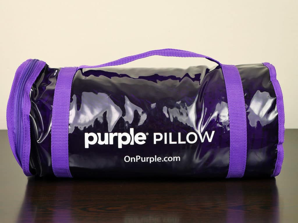 Purple pillow packaging