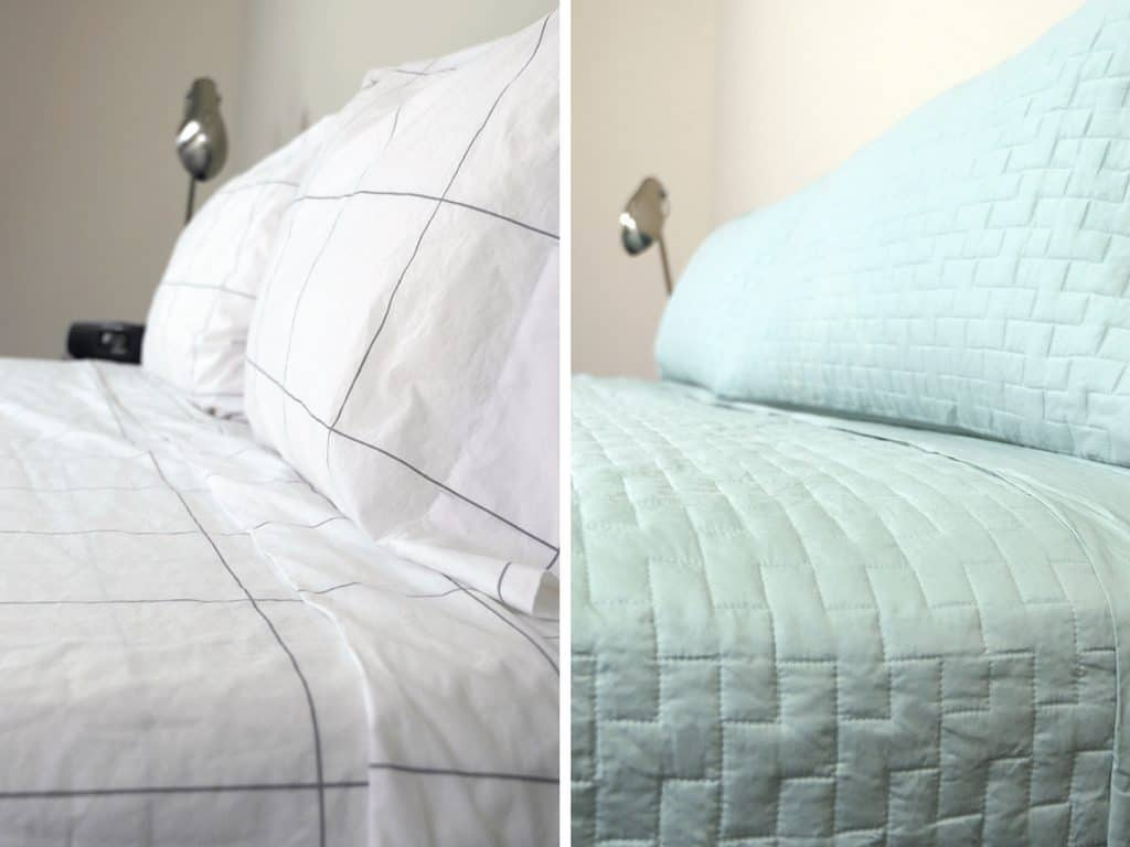 Cotton Sheets (left) Versus Tencel Sheets (right)