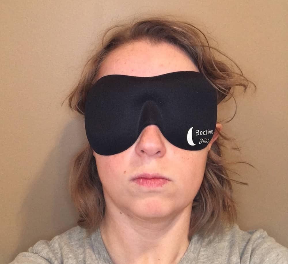 BedtimeBlissSleepMaskWearing Bedtime Bliss Sleep Mask Review
